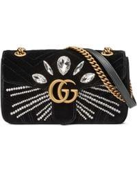 Gucci - Gg Marmont Velvet Shoulder Bag - Lyst