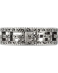 Gucci - Silver Ring With Square G - Lyst