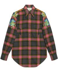 Gucci - Embroidered check wool shirt - Lyst