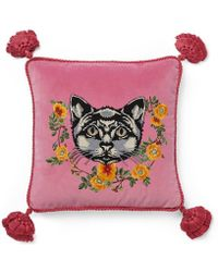 Gucci - Velvet Cushion With Cat Embroidery - Lyst