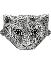 Gucci - Garden Silver Cat Ring - Lyst