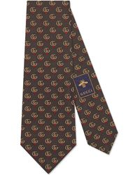 Gucci - Double G Silk Tie With Hearts - Lyst