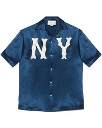 Gucci - Men's Bowling Shirt With Ny Yankees��� Patch - Lyst