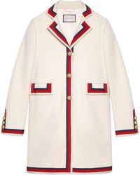 Gucci - Wool Coat With Sylvie Web - Lyst