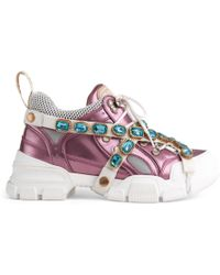 44ebda72a7a Gucci - Flashtrek Trainers With Removable Crystals - Lyst