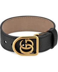 Gucci - Bracelet In Leather With Double G - Lyst