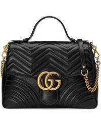 Gucci - GG Marmont Medium Top Handle Bag - Lyst