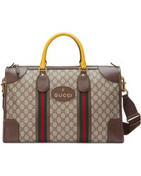 54bc05b6eacd Gucci Signature Web Diamante Canvas Duffel Bag in Brown for Men - Lyst