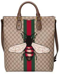 cf2f2ac406370f Gucci - Web Animalier Gg Supreme Tote With Bee - Lyst