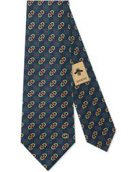 Gucci - Cravatta in seta stampa rombi con Morsetto - Lyst