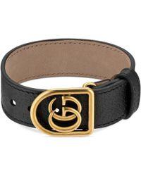 Gucci - Double-g Leather Belt Bracelet - Lyst