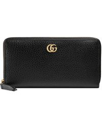 566c9fd0361d Gucci Swing Leather Zip Around Wallet in Brown - Lyst