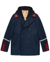 Gucci | Embroidered Felt Coat | Lyst