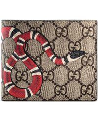 Gucci Brieftasche aus GG Supreme mit Königsnatterprint - Natur