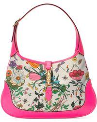 Gucci - Jackie Medium Flora Hobo Bag Fuchsia - Lyst