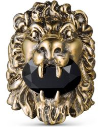 Gucci - Lion Head Ring With Swarovski - Lyst