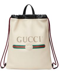 Gucci - Logo Leather Drawstring Backpack - Lyst