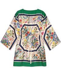 Gucci - Kaftano in seta con stampa floreale - Lyst