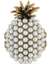 Gucci - Pearl Studded Pineapple Ring In Metal - Lyst