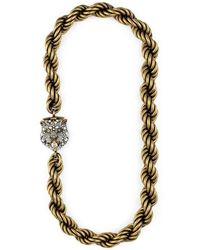 Gucci - Feline Head Necklace With Crystals - Lyst