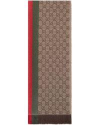 Gucci - Bufanda de punto de jacquard GG con tribanda y fleco - Lyst