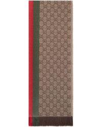 Gucci - Strickschal mit GG Jacquard, Webstreifen und Fransen - Lyst