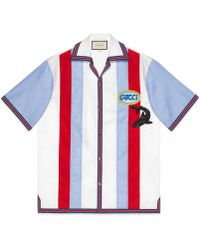 Gucci - Oxford Bowling Shirt With Patches - Lyst