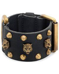 Gucci - Leather Cuff Bracelet - Lyst