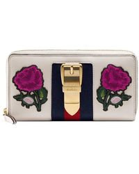 Gucci - Sylvie Embroidered Leather Zip Around Wallet - Lyst