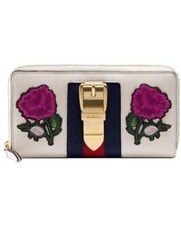 Gucci - Sylvie Embroidered Leather Zip Around Wallet - Lyst