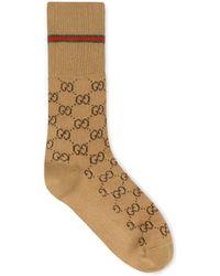 Gucci - Chaussettes en coton GG avec bande Web - Lyst