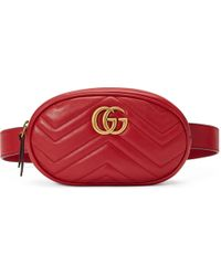 aa9e36a743c6 Gucci GG Marmont Quilted-leather Belt Bag in Black - Lyst
