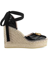 Gucci - Palmyra Ankle Tie Espadrille Wedge - Lyst
