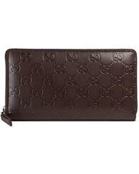 Gucci - Signature Zip Around Wallet - Lyst