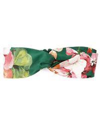 91589e079b3 Gucci - Blooms Print Silk Headband - Lyst