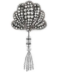 Gucci - Shell Brooch With Crystals - Lyst