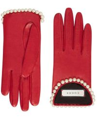Gucci - Leather Gloves With Pearls - Lyst