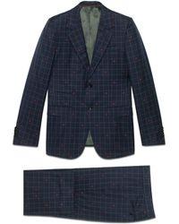 Gucci - Costume New Marseille en laine à abeilles et carreaux - Lyst