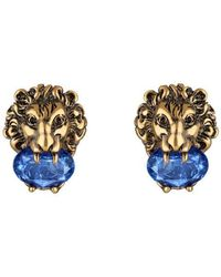 Gucci - Lion Head Earrings With Crystals - Lyst