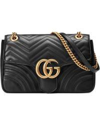 37e9e29ab14 Lyst - Gucci GG Marmont Matelassé Leather Mini Shoulder Bag in Black