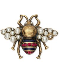 Gucci - Bee Brooch With Crystals And Pearls - Lyst