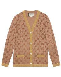 Gucci - Cardigan With Crystal Gg Motif - Lyst