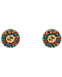 Gucci - Crystals Interlocking G Earrings - Lyst