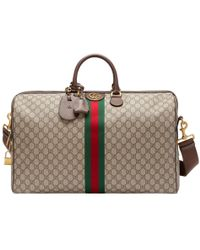 8fd126bb7fb Lyst - Gucci Soft Gg Supreme Duffle Bag With Web in Brown for Men