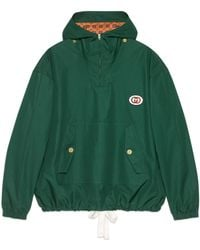 b07911c3d48 Gucci - Hooded Cotton Jacket With Patch - Lyst