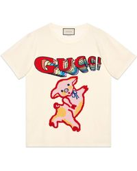 Gucci - Women's Oversize Cotton T-shirt With Piglet - Lyst
