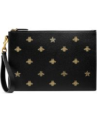 Gucci - Pouch Bee Star in pelle - Lyst