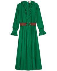 Popolare Gucci - Abito in seta con cintura Doppia G - Lyst 534466326395