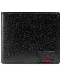 Gucci - Portefeuille en cuir avec porte-monnaie et détail ruban Web - Lyst