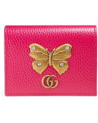 Gucci - Leather Card Case With Butterfly - Lyst